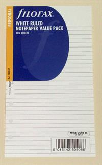Filofax White Ruled Notepaper Insert - Personal